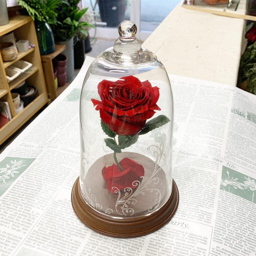 プリザーブドフラワー加工した薔薇のガラスドーム